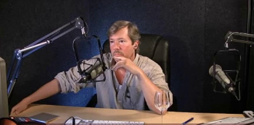 A picture of Spencer David Kobren hosting The Bald Truth radio show.