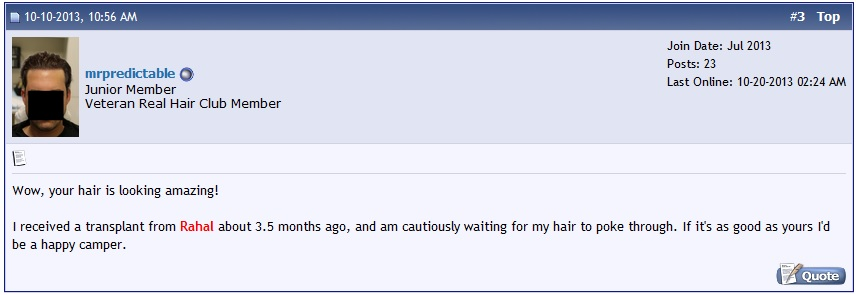 A photo of a comment on a hair loss forum post.