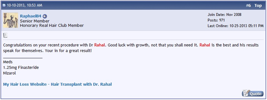 A screen shot of encouraging comments on the hair loss forum.