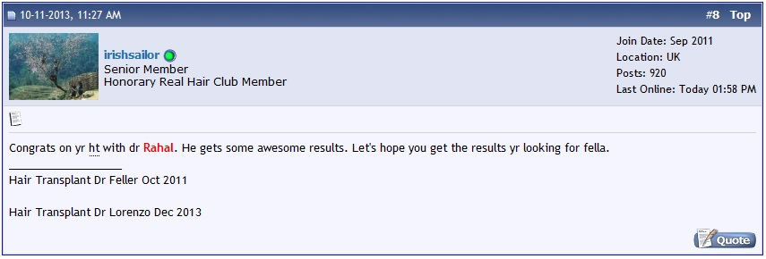 A screen shot of a forum post congratulating Dr. Rahal's results.