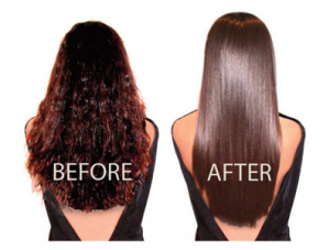 Before & after picture of chemical straightening