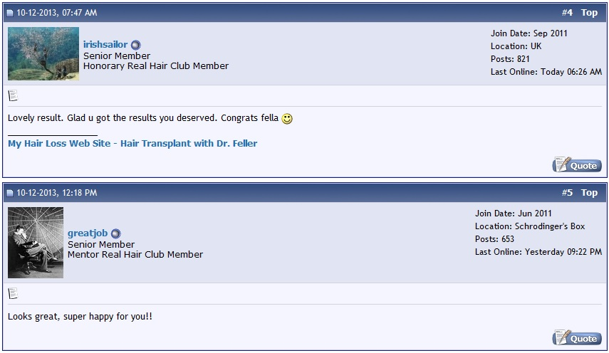 A photo of positive comments posted by members on the hair loss forum.