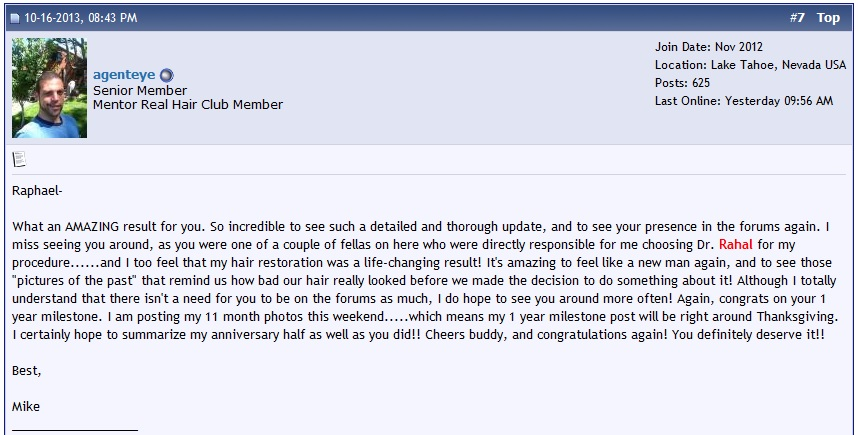 A photo of a comment by a member on the hair loss forum.