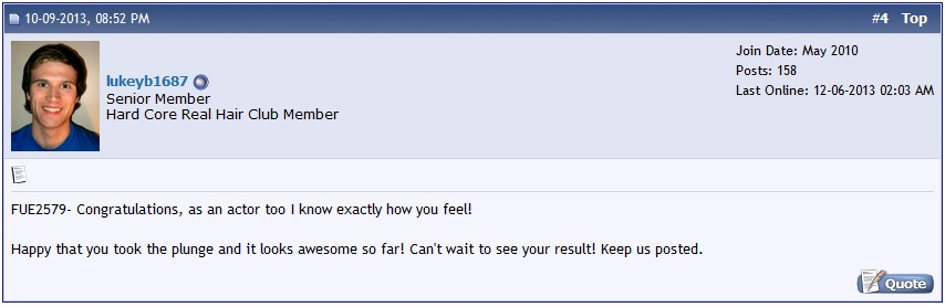 A screen shot of a hair loss forum comment.