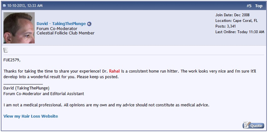 A screen shot of a forum post commending a patients hair transplant results.
