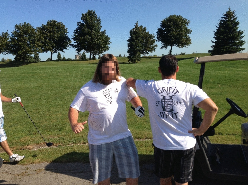 A picture of Mike and his golfing buddy, showing off his new thick hair.