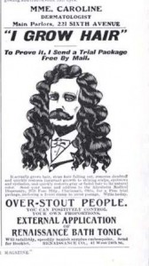Picture of how to regrow hair ad from the 1800s.